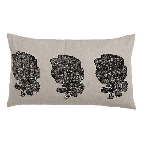 Block-Printed Fan Coral Pillow, Natural/Black ,  , large
