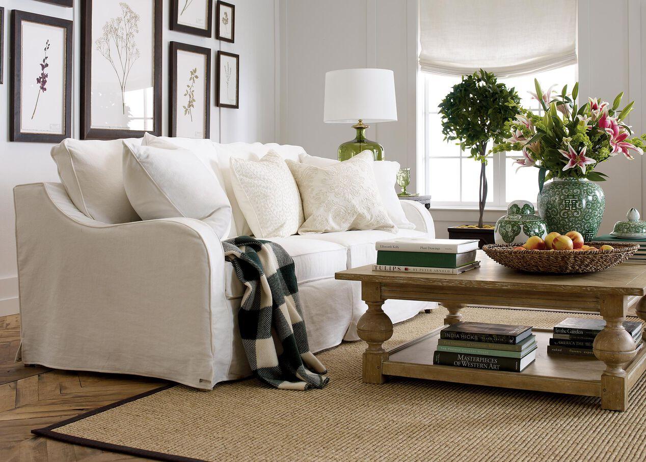 Dylan slipcovered sofa sofas loveseats ethan allen - Slipcovers for living room furniture ...