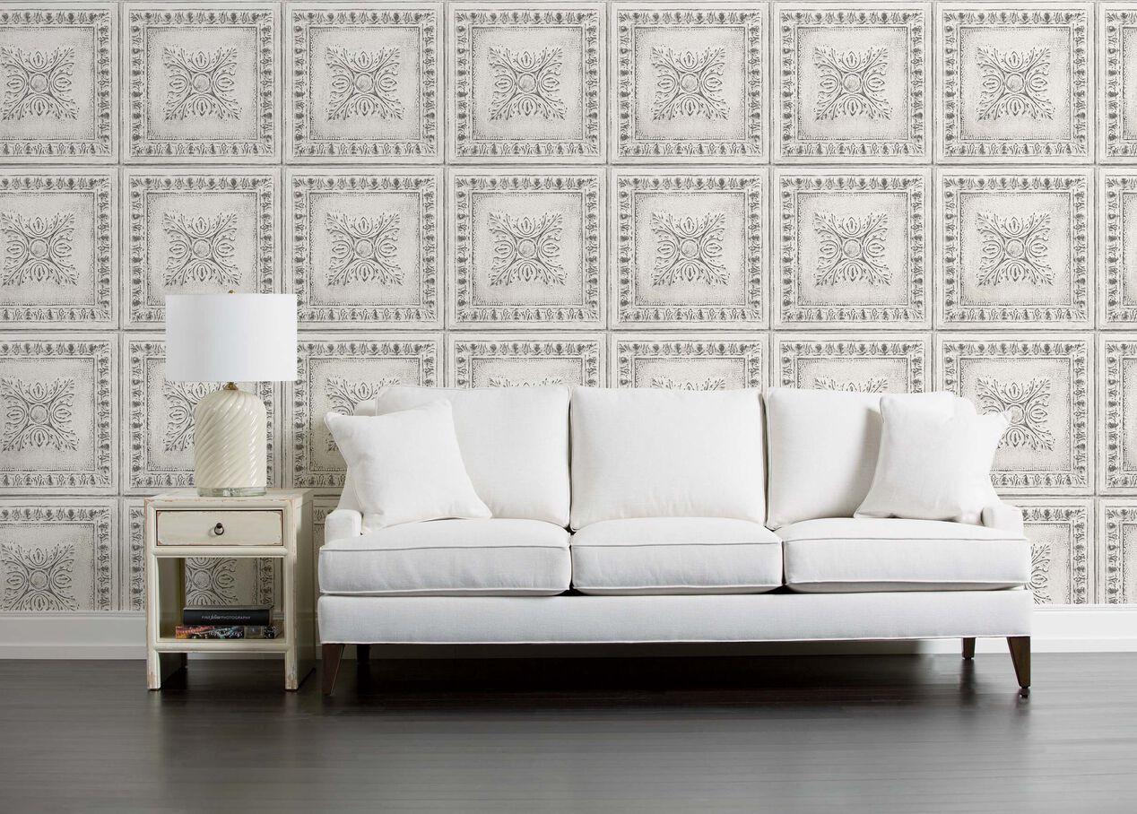 Ornamental Distressed Tin Tile Wallpaper Ethan Allen