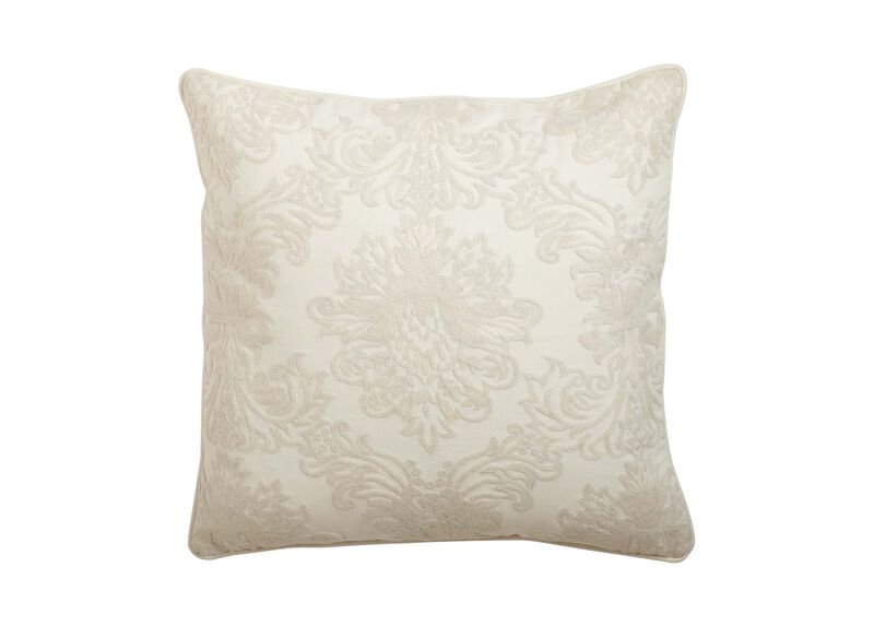 Crewel Embroidered Medallion Pillow, Ivory ,  , large_gray