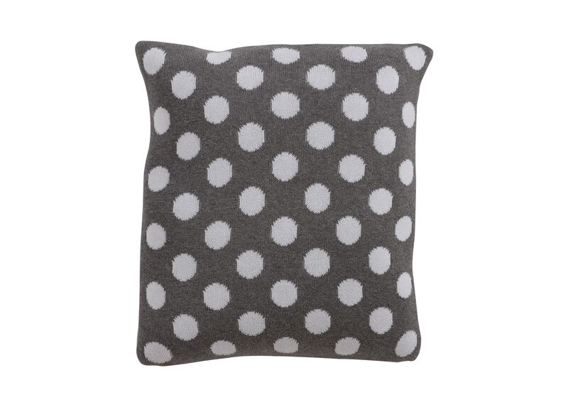 Dotty Knit Pillow, Mouse Grey