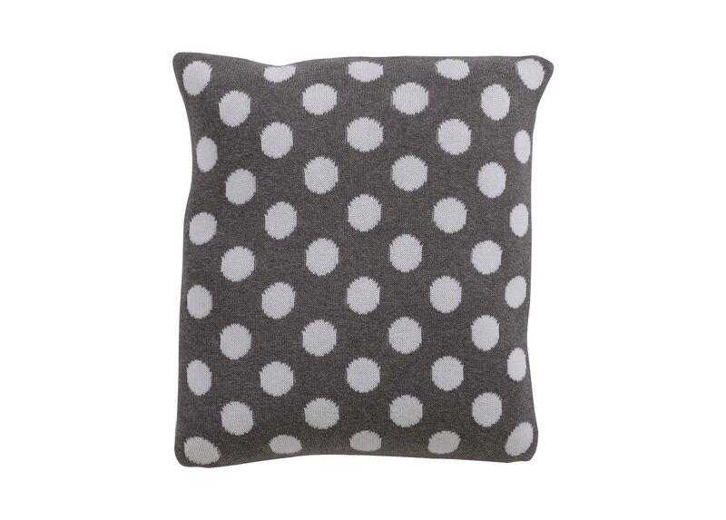 Dotty Knit Pillow, Mouse Grey