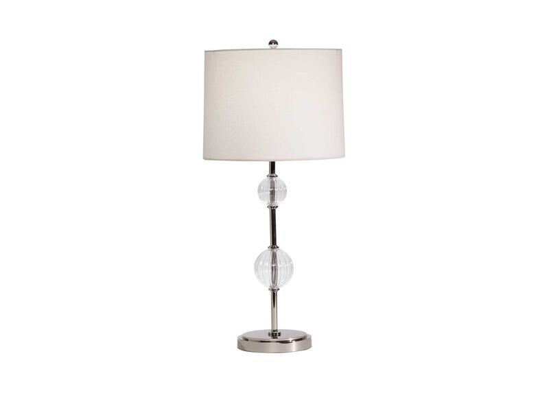 Ribbed Glass Ball Table Lamp