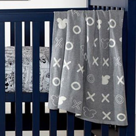 Mickey Mouse Hugs and Kisses Knit Stroller Blanket, Mouse Grey ,  , hover_image