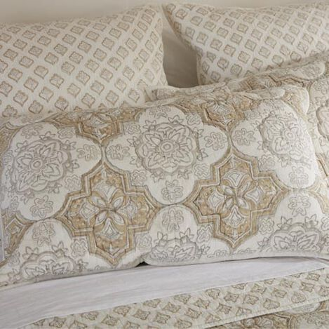 Tile Block Print Quilted Sham ,  , large