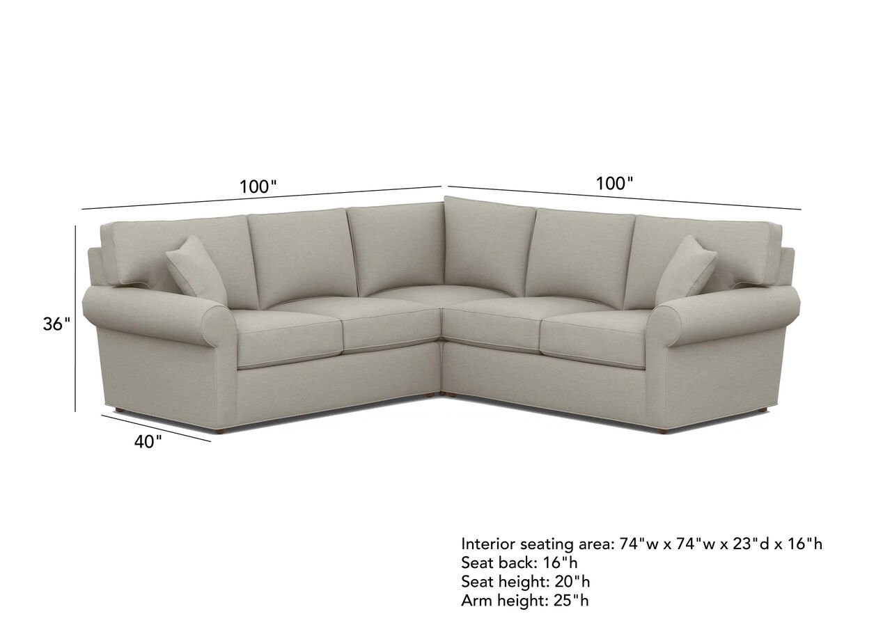 Retreat Roll Arm Three Piece Sectional Quick Ship