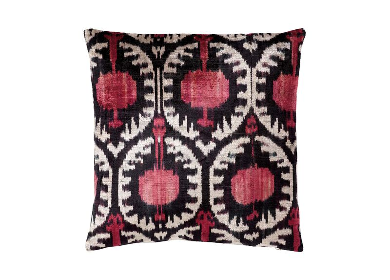 Silk Velvet Pillow, Pink/Black Ikat | Tuggl