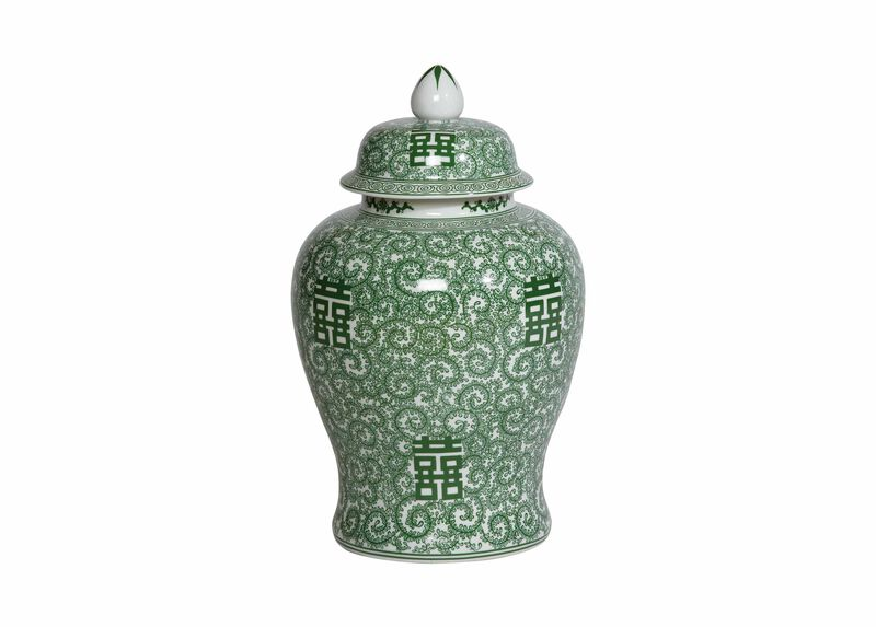 Green and White Temple Jar