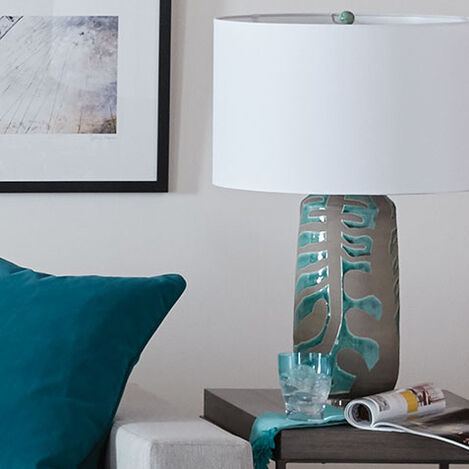 Monstera Earthenware Table Lamp Product Tile Hover Image 096136
