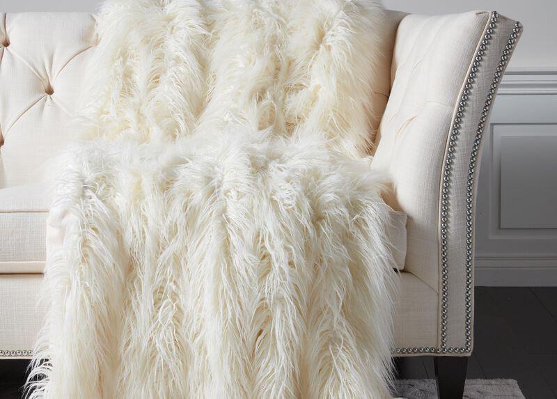 Faux Fur Throw, Ivory