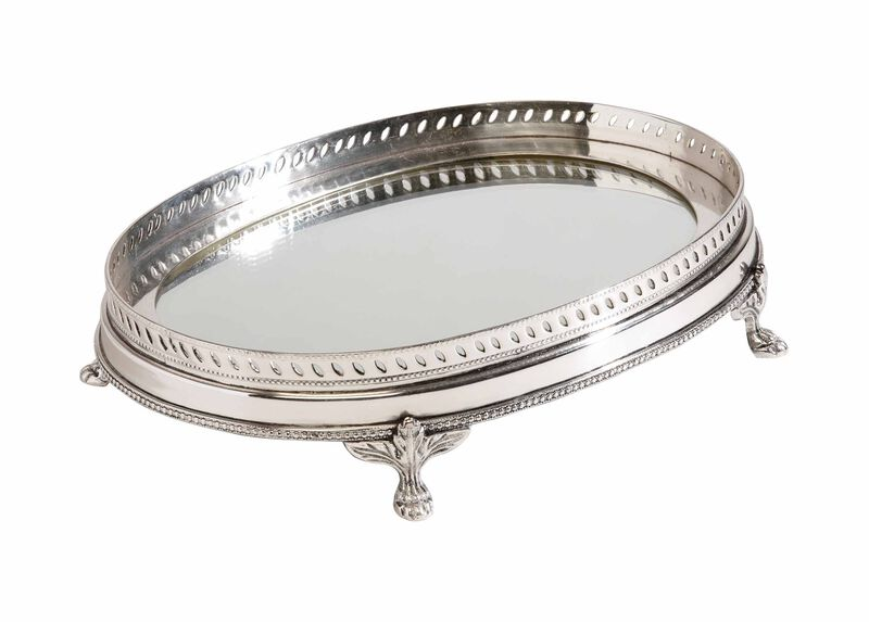 Oval Mirrored Silver Tray