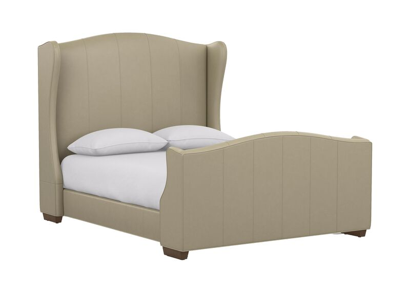 Kayla Leather Bed with Tall Footboard ,  , large_gray