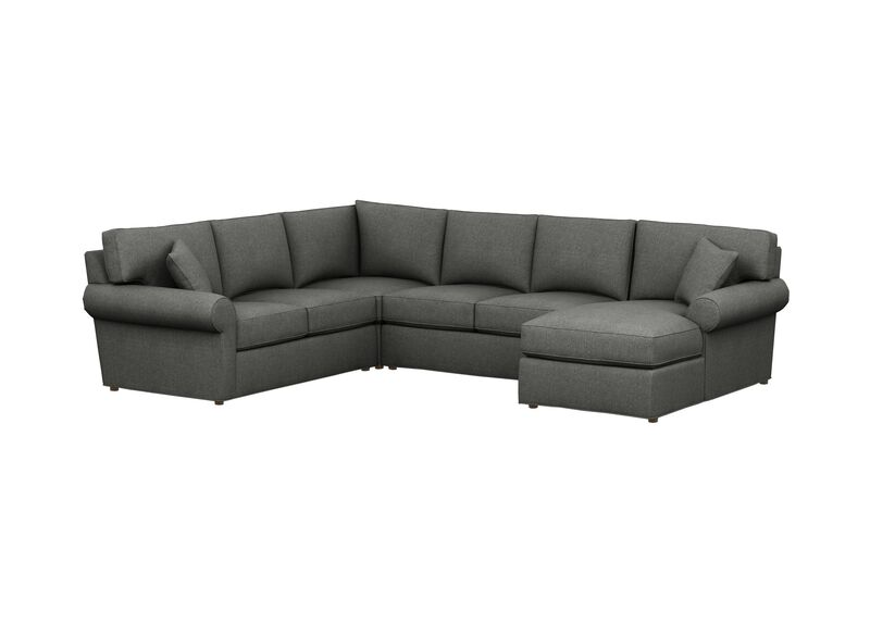Retreat Roll-Arm Four Seat Sectional with Chaise