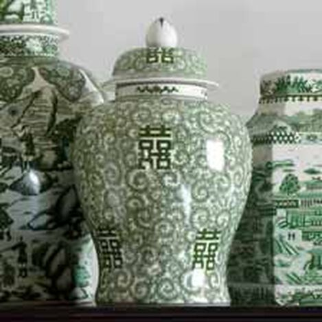 """18"""" Green and White Temple Jar ,  , hover_image"""