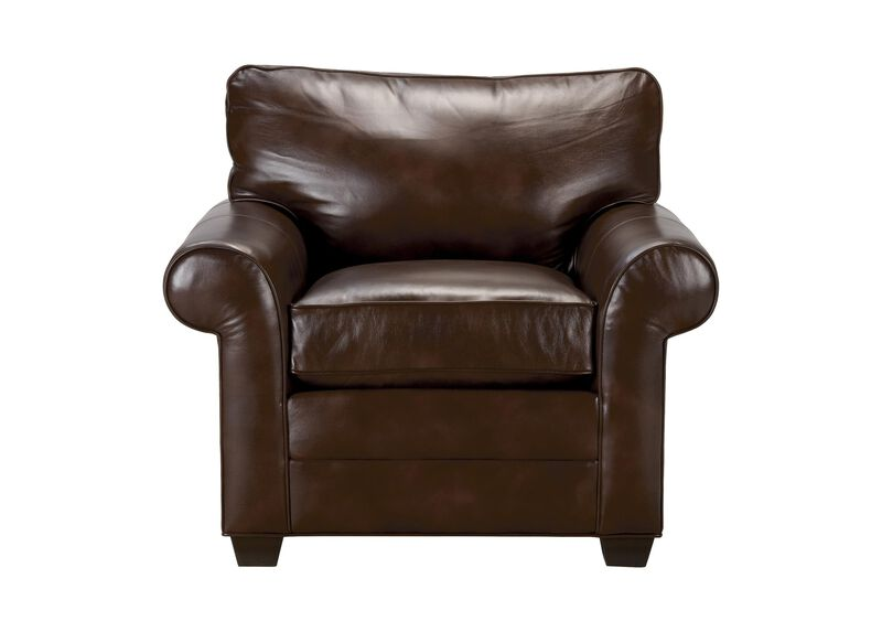 Bennett Roll-Arm Leather Chair, Quick Ship