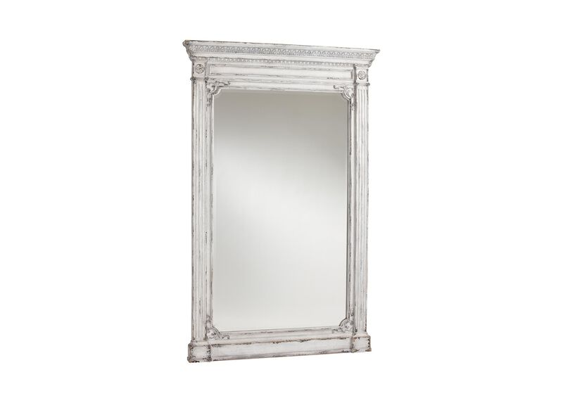 Antique White Madeleine Trumeau Floor Mirror ,  , large_gray