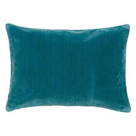 Velvet Strie Lumbar Pillow, Teal ,  , large