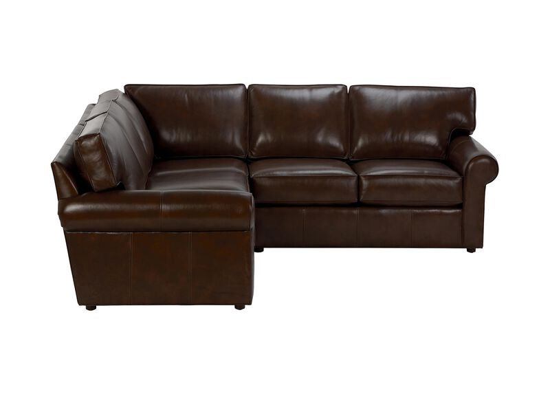Retreat Roll-Arm Three-Piece Leather Sectional, Quick Ship