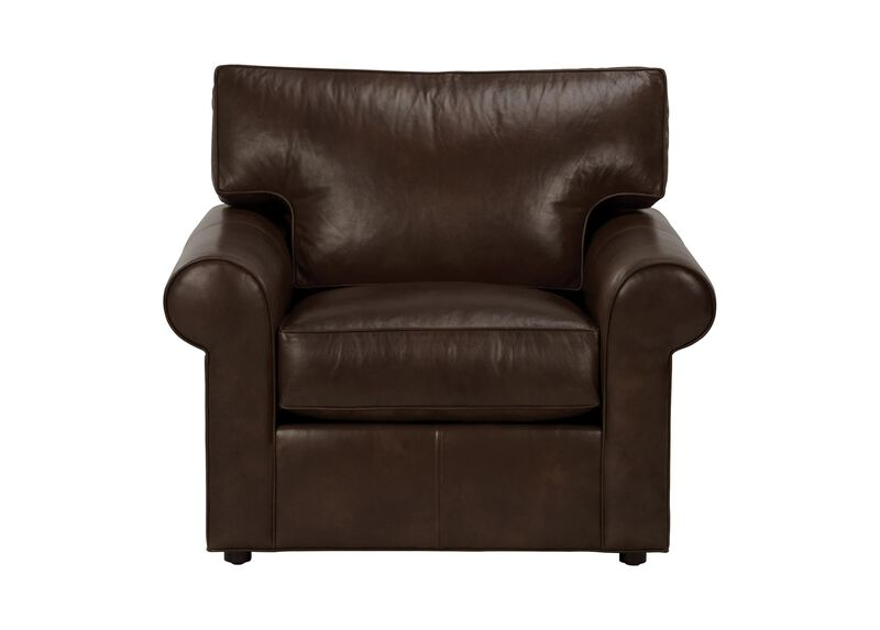 Retreat Roll-Arm Leather Chair, Quick Ship ,  , large_gray