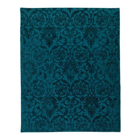 Jacquard Damask Rug, Turquoise ,  , large