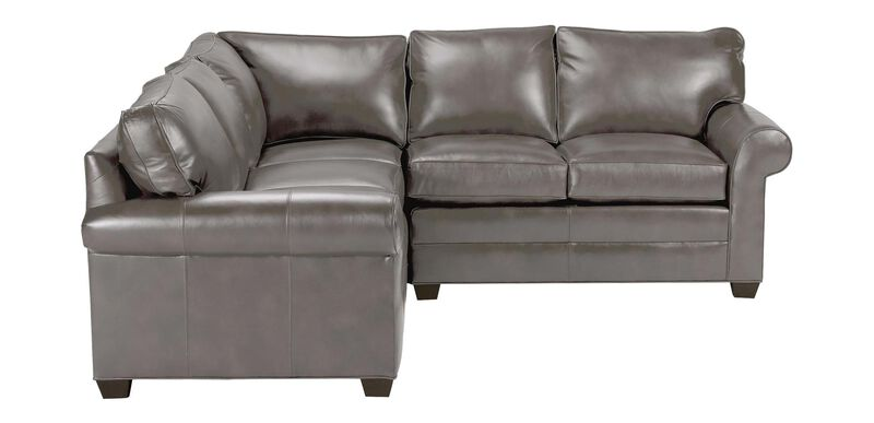 Bennett Roll-Arm Three-Piece Leather Sectional, Quick Ship