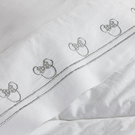 Minnie Mouse Embroidered Sheet Set, Silver Product Tile Hover Image 035211   SLR