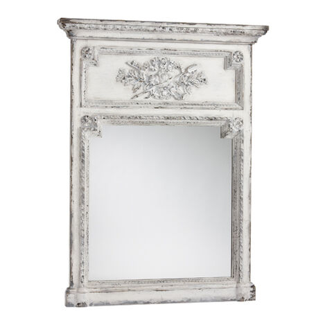 Antique White Madeleine Trumeau Wall Mirror ,  , large