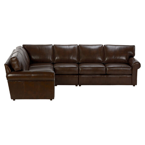 Retreat Roll Arm Leather Four Piece Sectional, Quick Ship