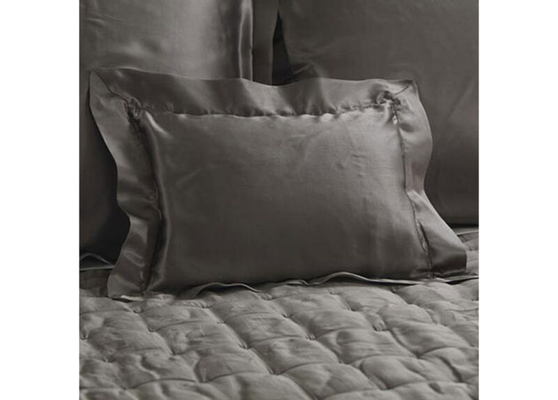 Damaris Gray Silk Boudoir Pillow at Ethan Allen in Ormond Beach, FL | Tuggl