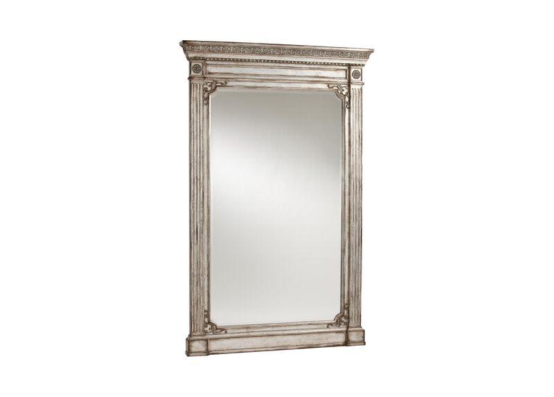 Antique Silver Madeleine Trumeau Floor Mirror