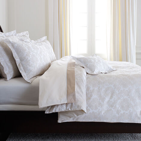 Bayley Damask Duvet Cover, White and Flax ,  , large