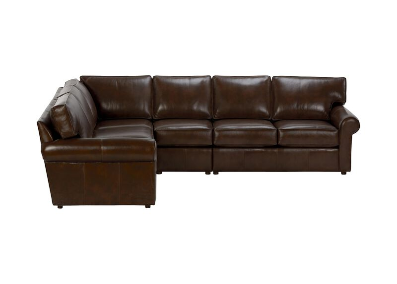 Retreat Roll-Arm Leather Four Piece Sectional, Quick Ship ,  , large_gray