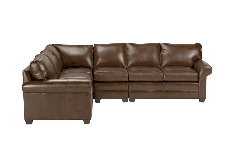 Bennett Four Piece Leather Sectional, Quick Ship ,  , large_gray