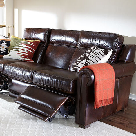 Johnston Roll-Arm Leather Incliner Sofa Product Tile Hover Image 737932