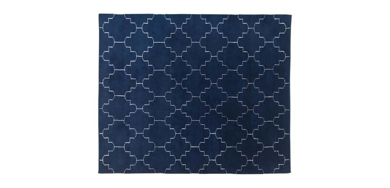 Tulu Tracery Rug, Blue/Natural