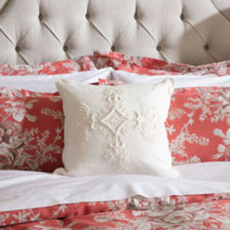Embroidered Scroll on Ivory Linen Pillow ,  , hover_image