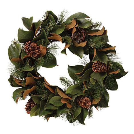 """24"""" Magnolia Leaf and Evergreen Wreath Product Tile Image 442236"""