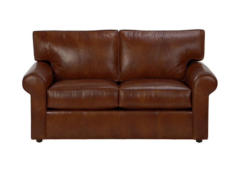 Retreat roll arm leather sofa sofas loveseats ethan for Retreat sectional sofa ethan allen