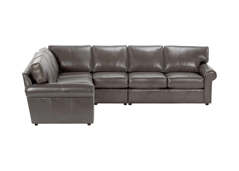 Retreat Roll-Arm Four-Piece Leather Sectional, Quick Ship