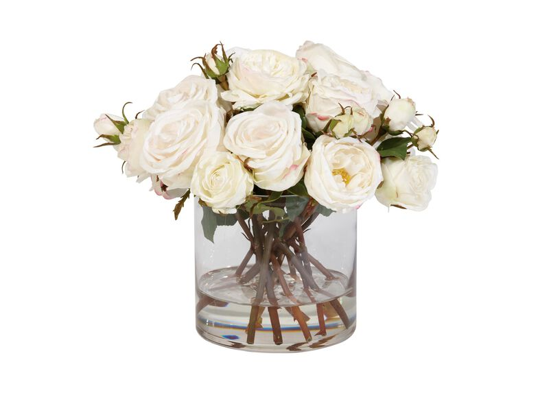 Mixed White Roses in Glass ,  , large_gray