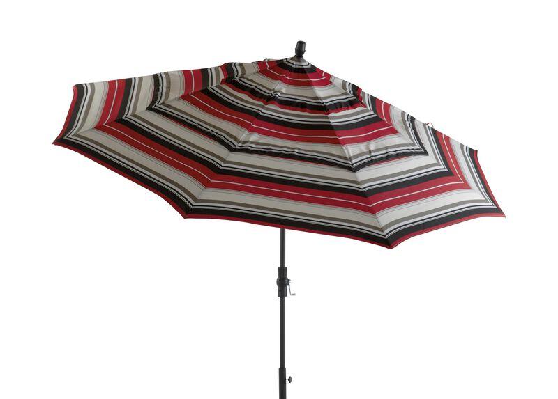 Crimson Stripe Round Market Umbrella