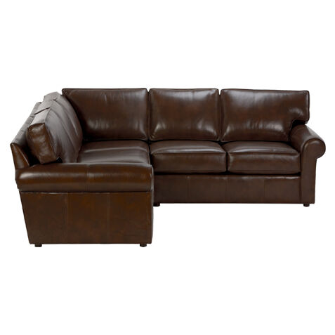 Retreat Roll Arm Leather Three Piece Sectional, Quick Ship