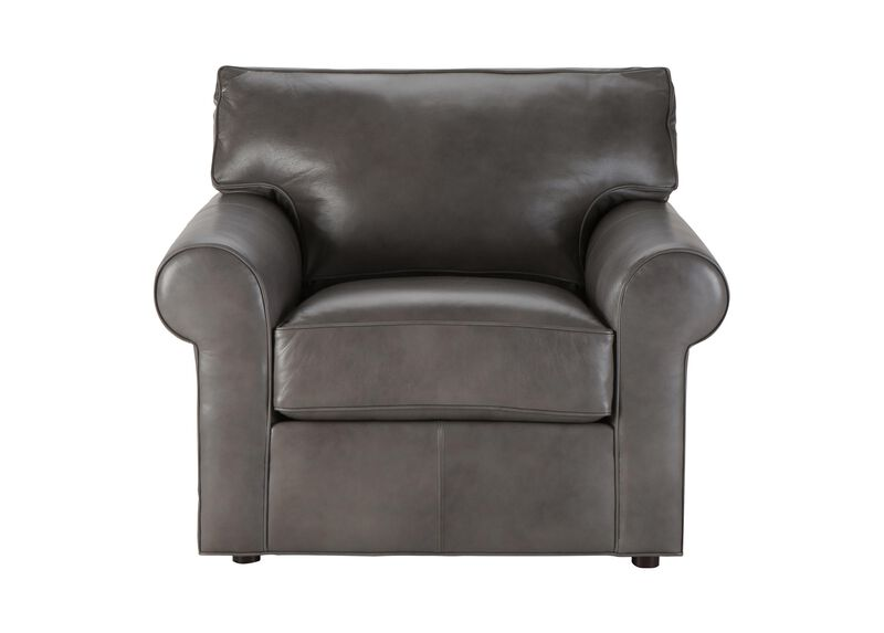 Retreat Roll-Arm Leather Chair, Quick Ship