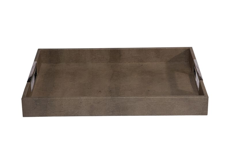 Embossed Rectangular Leather Tray