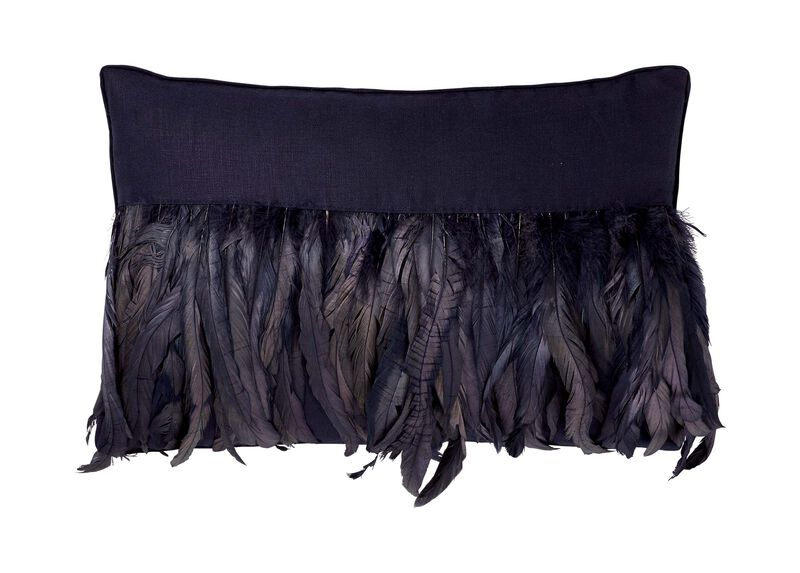 Navy Feathered Pillow ,  , large_gray