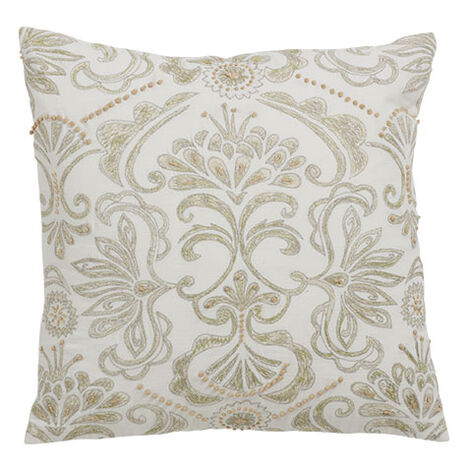 White and Green Embroidered Damask Pillow Product Tile Image 061325   GRN