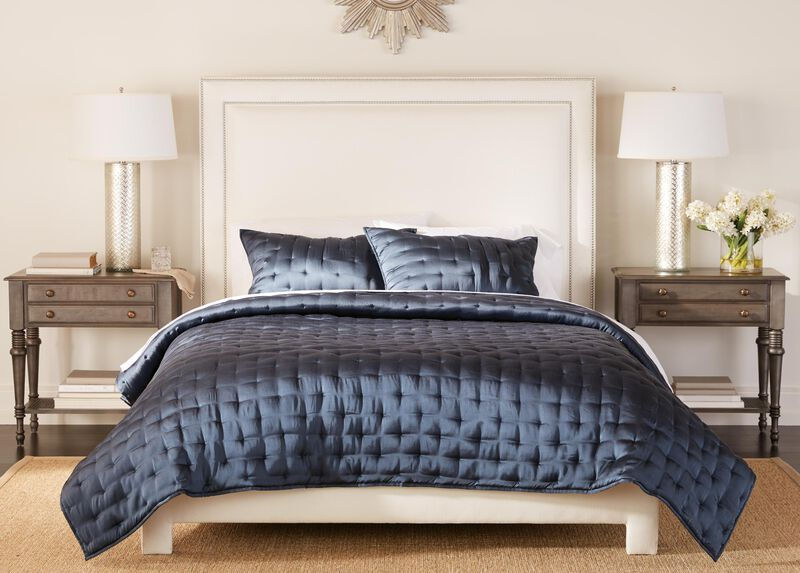 Washed Navy Silk Coverlet and Shams