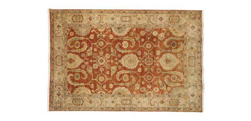 Indo Herat Rug, Rust/Ivory