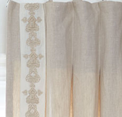 Sayre Washed Linen Drapery Panel with Crewel Damask Trim, Pair Product Tile Hover Image DE1028P NAT