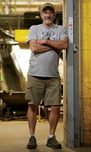 employee in garage door